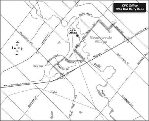 Map to CVC office - 1255 Old Derry Road, Mississauga, ON