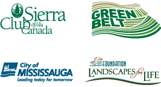 partner logos - 1) Sierra Club of Canada, 2) Green Belt, 3) City of Mississauga, 4) Landscapes for Life Foundation
