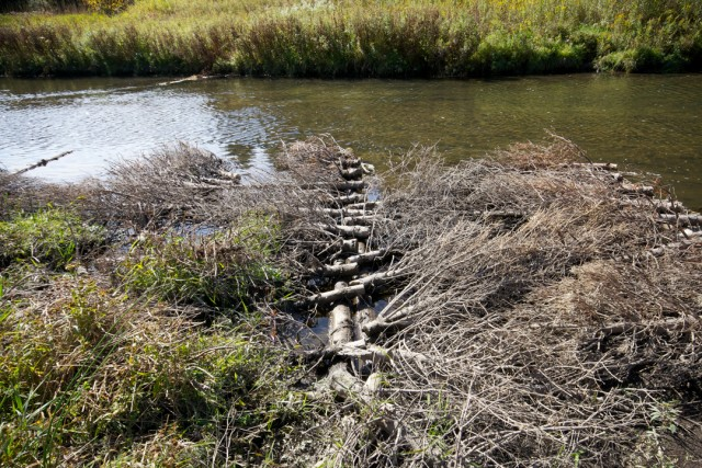 In-stream structures like this are installed to improve stream contours and fish habitat.