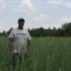 Geoff Maltby in Bird Friendly Hay Field