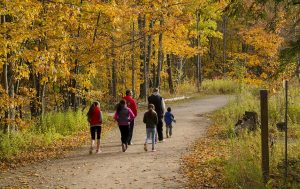 A family walking along a trail in nature to reduce stress