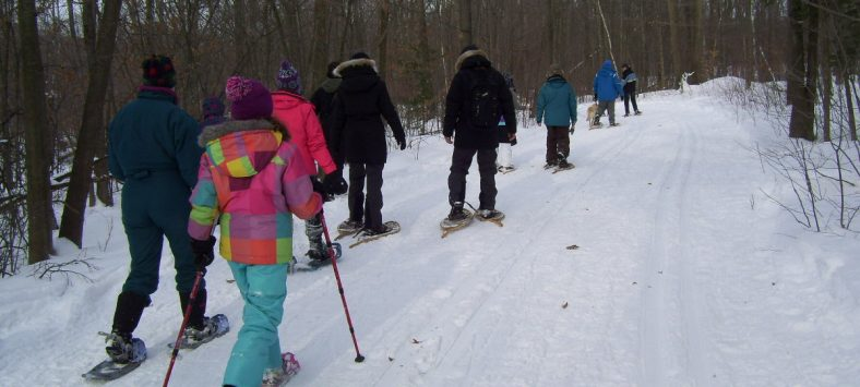 Families snowshoeing at Terra Cotta Conservation Area