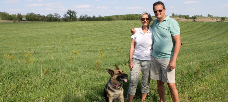 Helen and David Choat with dog Xena