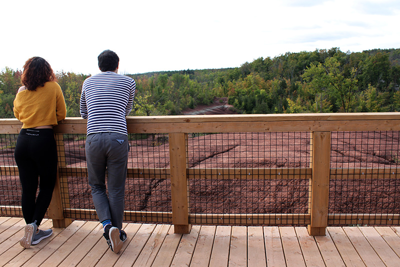 Two people stand together on a viewing platform looking out over the Badlands.