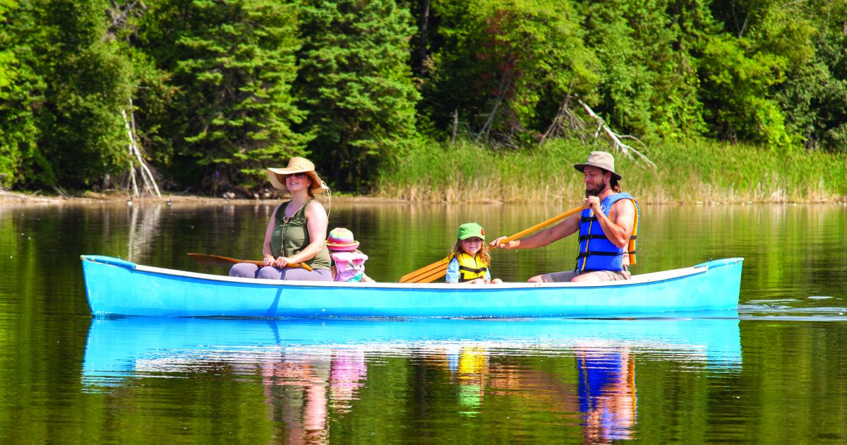 A family of four people canoeing at the park.