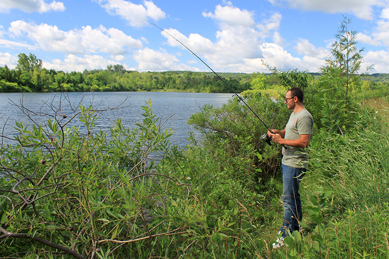A person stands amongst tall grasses and bushes at the water's edge while fishing.