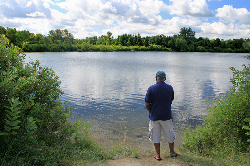 A park visitor stands alone, fishing at the shore.