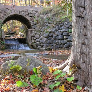A stone archway over a creek.