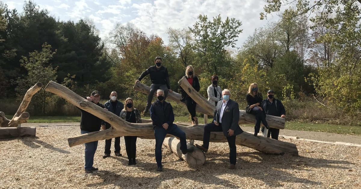 Board of Directors at outdoor play ground at Island Lake Conservation Area.