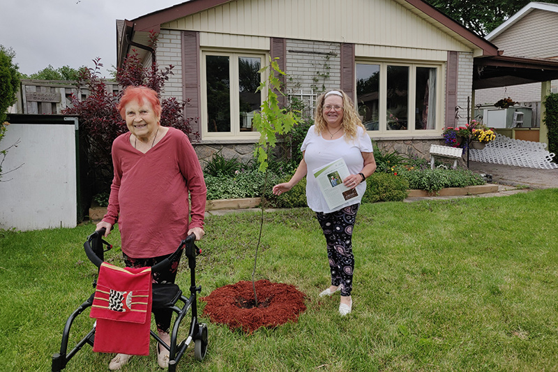 Two residents stand with a newly planted tree in their yard