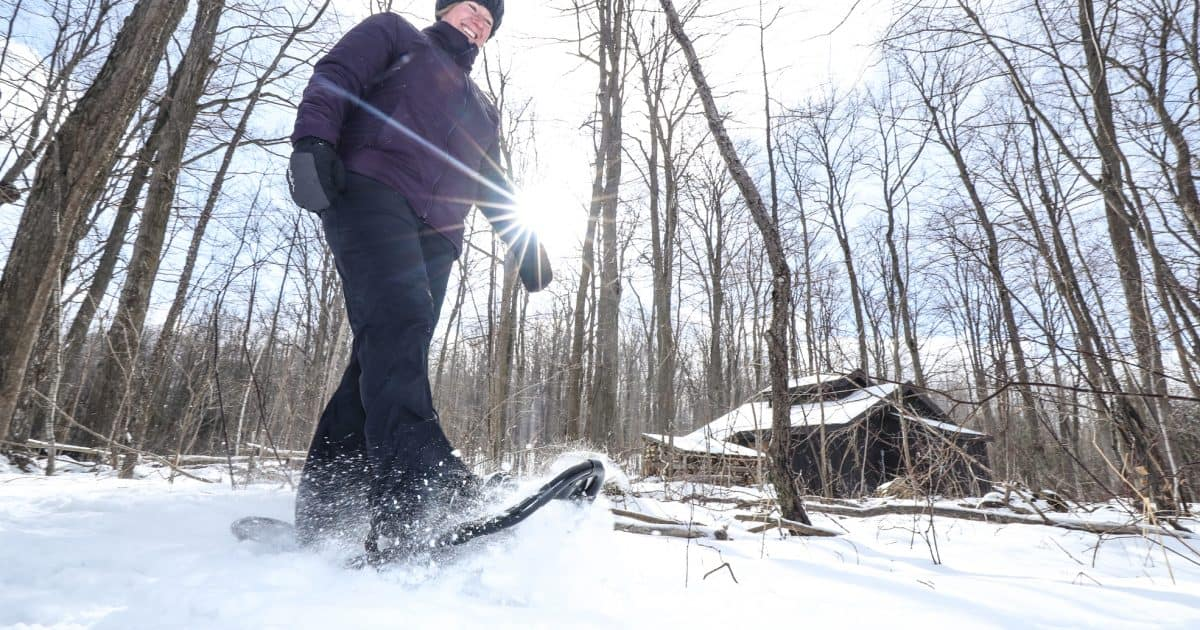 Person snowshoeing in winter through a forest.