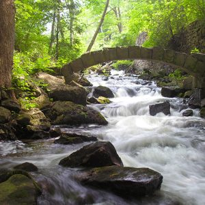 A stone arch over the stream with water rushing over rocks.