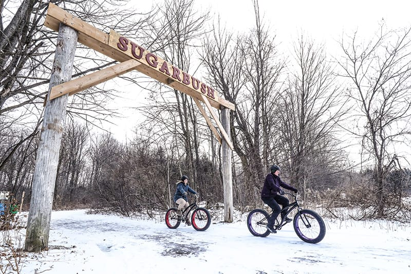 Two cyclists on fat tire bikes at Island Lake Conservation Area.
