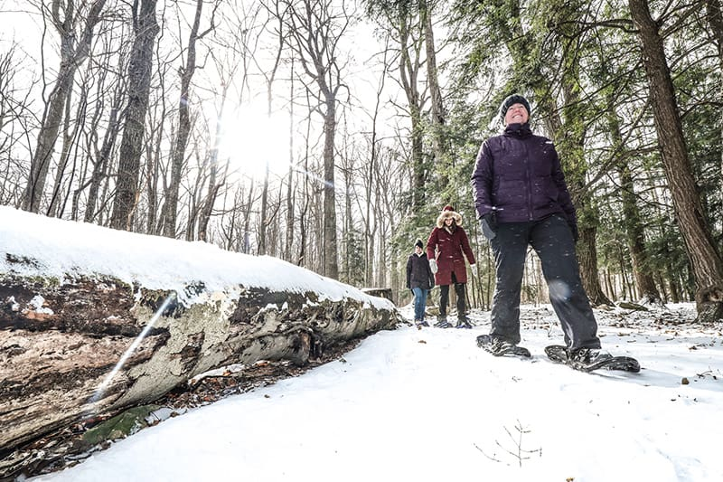 Three park visitors snowshoe past a snow-covered fallen log.