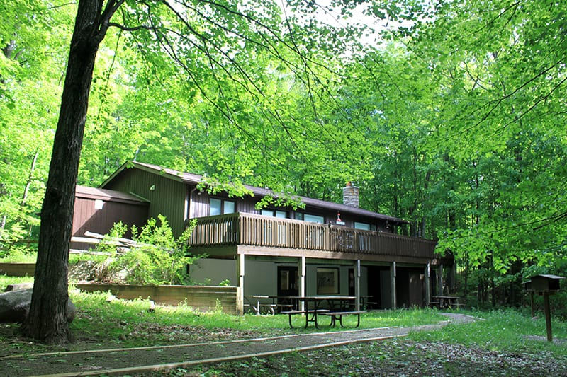 The back of the Learning Centre at Terra Cotta in the summer, surrounded by green trees.