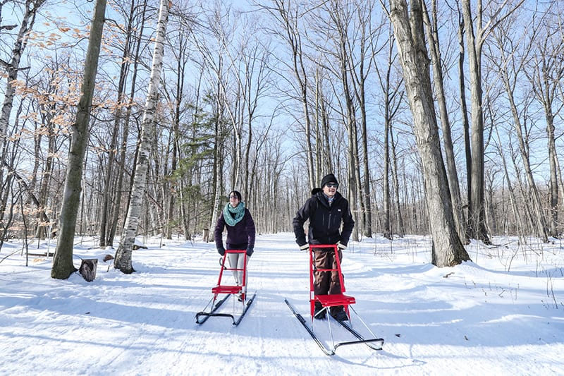 Two people kicksledding along Terra Cotta Lane with trees in the background