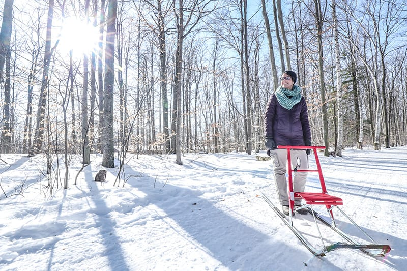 A woman posing with a red kicksled with the sun shining through the trees behind her.