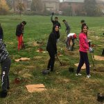Group of kids planting trees in a suburban setting.