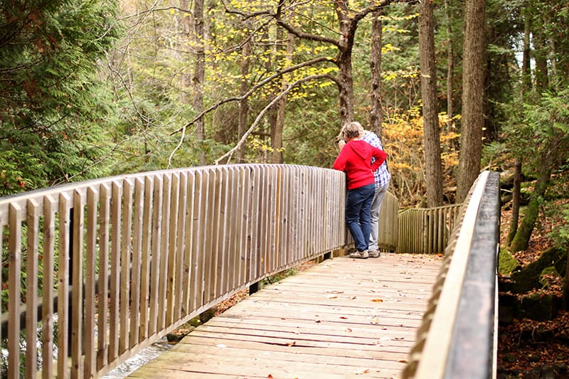Two hikers stop to look over the railing of a wooden bridge in the fall.