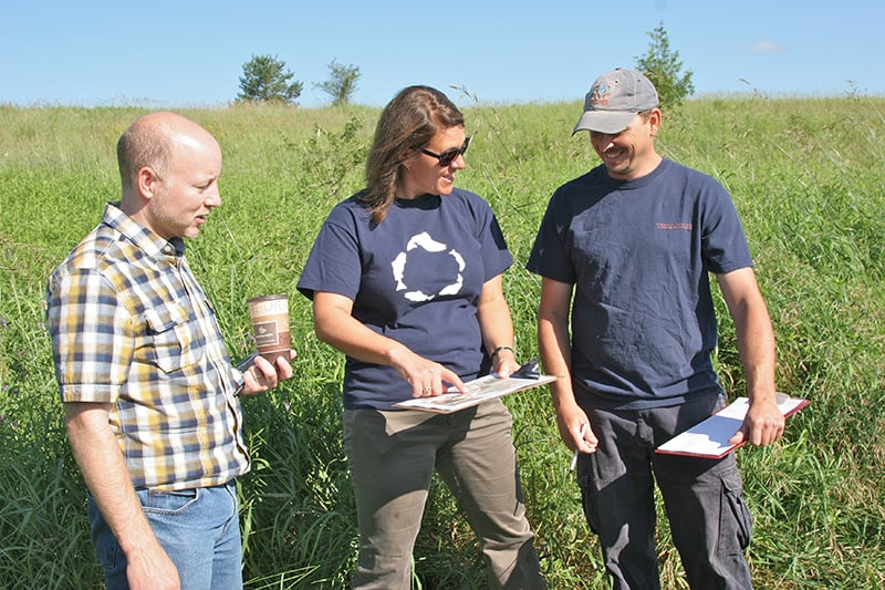 Three Credit Valley Conservation staff standing in a field, consulting a clipboard.