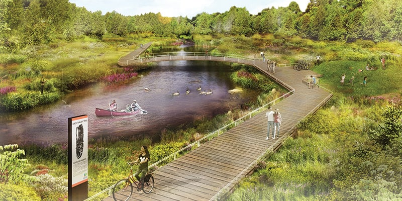 An artist rendering of a future section of the Credit Valley Trail. A boardwalk takes pedestrians and cyclists through an area with trees and grasses alongside the river. A family canoes along the river while others explore the dry land on shore.
