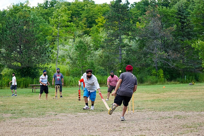 A family playing cricket at a family picnic.
