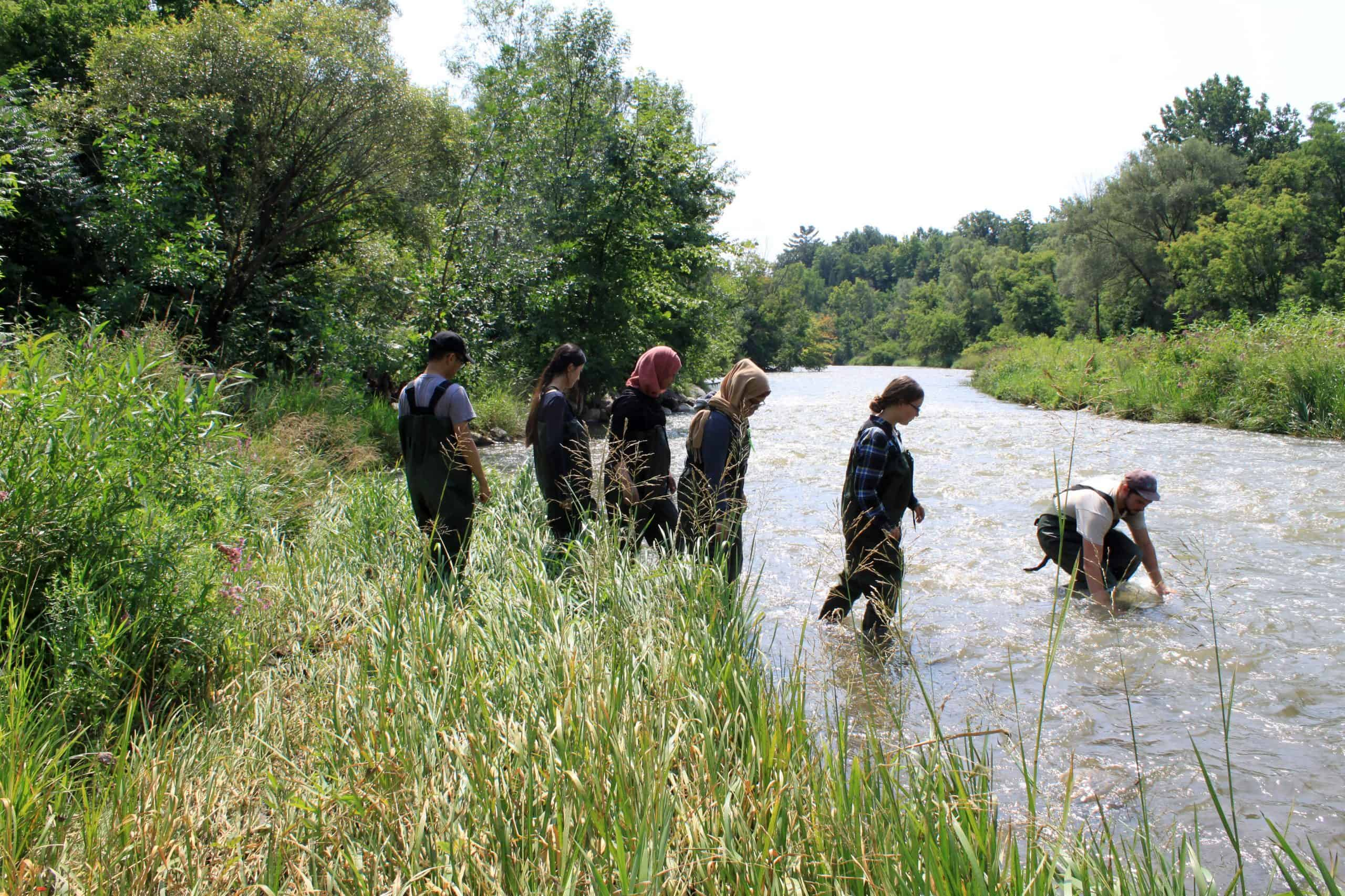 teens wearing hip waders going into a stream