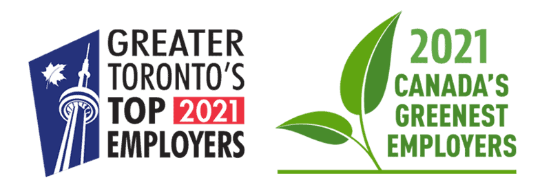Award logos for Greater Toronto's Top 2021 Employers and 2021 Canada's Greenest Employers .