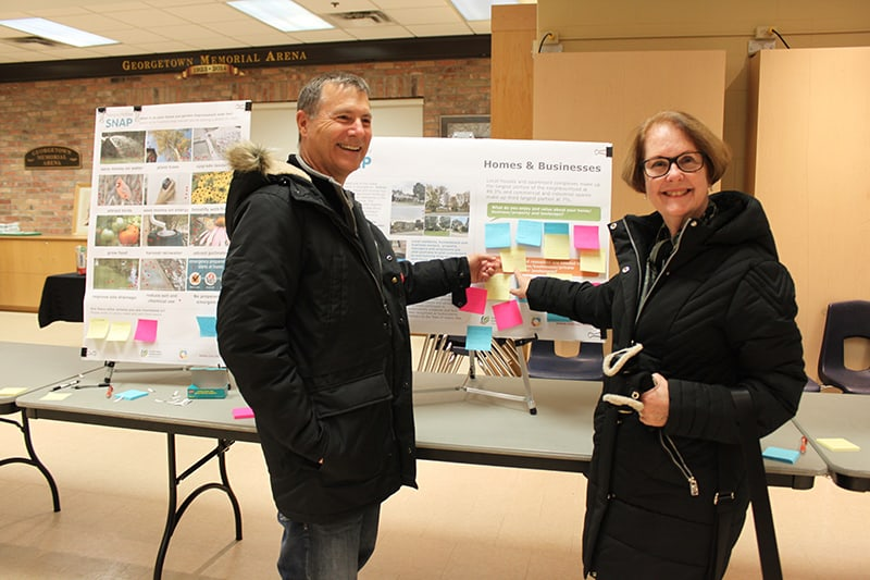 Two residents provide feedback on poster board