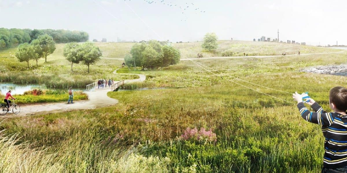 An artist's rendering of the future Jim Tovey Lakeview Conservation Area, showing natural areas and visitors enjoying the space on trails.