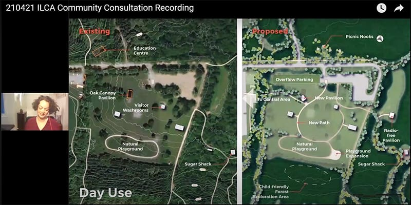 """Screenshot of the video titled  """"210421  ILCA Community Consultation Recording"""", showing a before and after plan for day use at the park."""