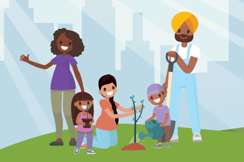 An illustration of a family planting a tree in an urban setting.