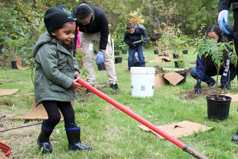 A child with a shovel at an outdoor tree planting event with other volunteers.